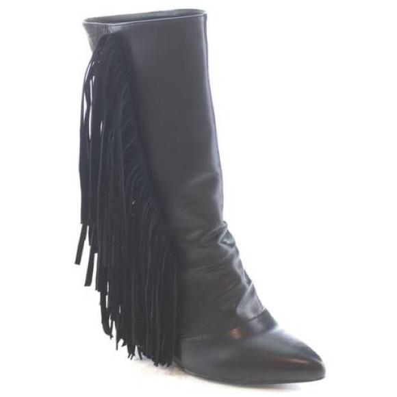 Shoes - NIB Black vegan snakeskin & leather fringe booties